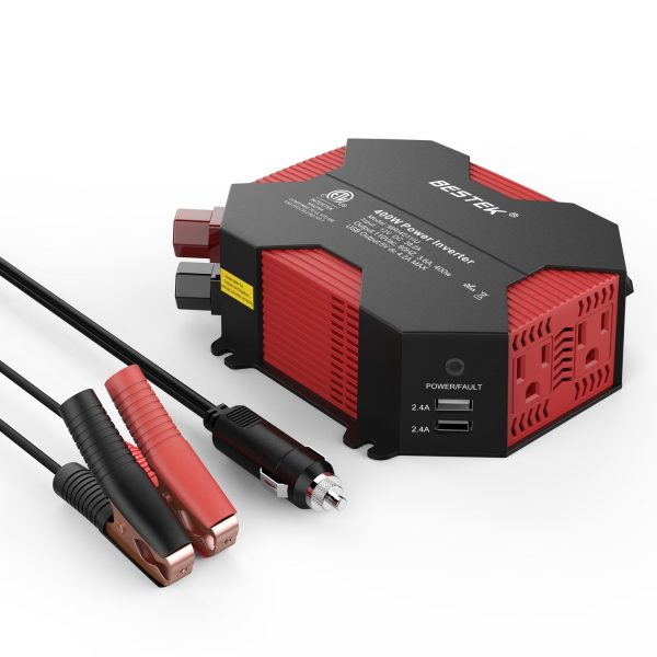 1. BESTEK 400W Power Inverter DC 12V to AC 110V Car Adapter with 5A 4 USB Charging Ports