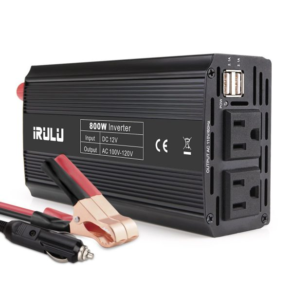 7. iRULU 800W Microprocessor Power Inverter DC 12V to 110V AC Car Inverter with 4.2A Dual USB Car Adapter for Computer, Laptop, Projector and Game Console - Black