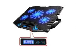 8. TopMate 12-15.6 inch Gaming Laptop Cooler, Five Quite Fans and LCD Screen,2500RPM Strong Wind Speed Designed for Gamers and Office