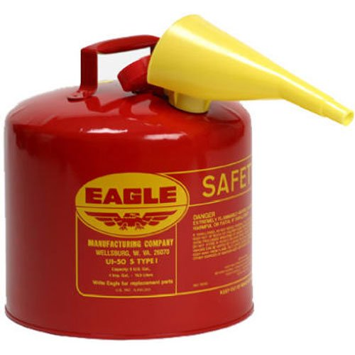 1. Eagle UI-50-FS Red Galvanized Steel Type I Gasoline Safety Can with Funnel