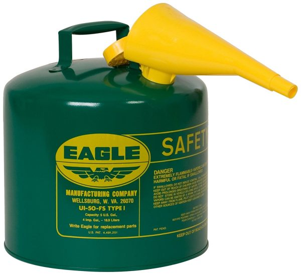 6. Eagle Type I Galvanized Steel Safety Can with Funnel