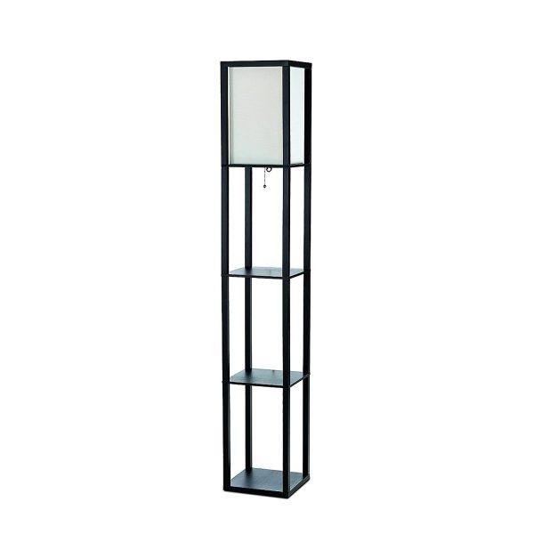 Simple Designs LF1014-BLK Floor Lamp Etagere Organizer Storage Shelf with Linen Shade