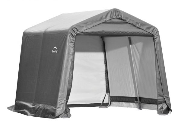 3. ShelterLogic Shed-in-a-Box with Auger Anchors, Peak, Gray