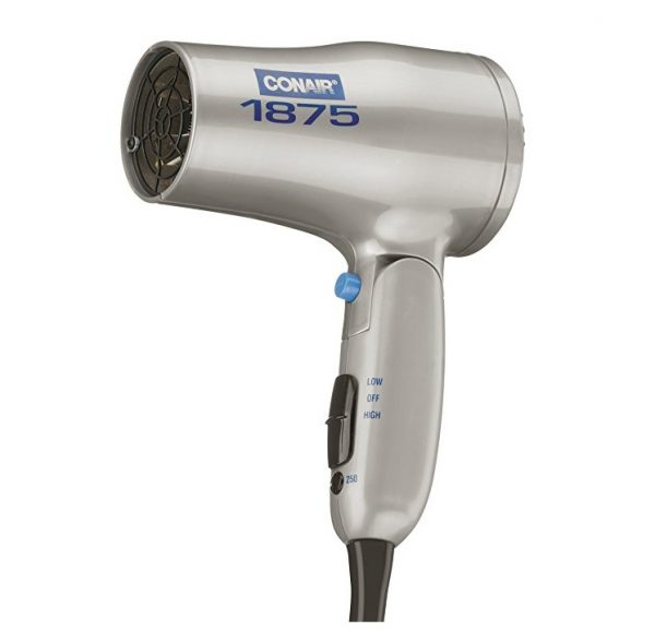 4. Conair 1875 Watt Compact Hair Dryer with Folding Handle; Dual Voltage; Grey