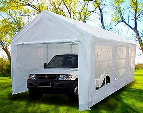 8. Peaktop 20'x10' Heavy Duty Portable Carport Garage Car Shelter Canopy Party Tent Sidewall with Windows White