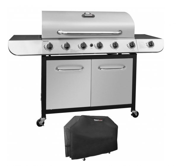 9. Royal Gourmet Classic Stainless Steel 6-Burner Cabinet Gas Grill with Side Sear Burner(Grill + Cover)