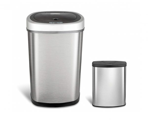 1. Ninestars CB-DZT-50-98-1C Automatic Touchless Motion Sensor Oval & Rectangular Trash Can Combo Set