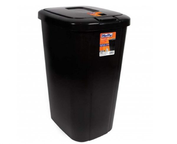 10. Lightweight and Durable Hefty Touch Lid 13.3 Gallon Trash Can (Black)