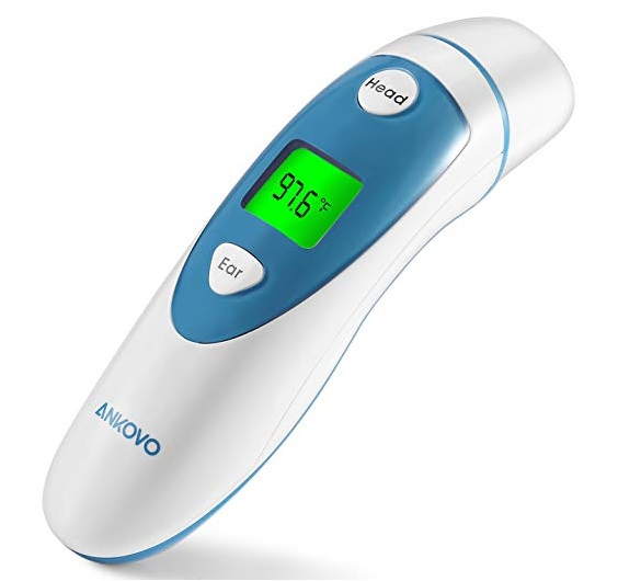2. ANKOVO Thermometers for Fever Digital Medical Infrared Forehead and Ear Thermometer for Baby