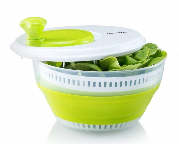 8. Gourmia GMS9100 Collapsible Salad Spinner Manual Veggie & Lettuce Dryer With Crank Handle