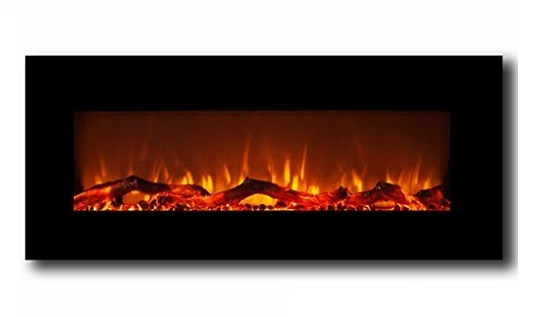 1. Moda Flame Houston 50 Inch Electric Wall Mounted Fireplace Black