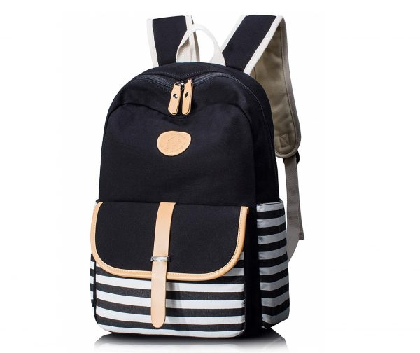 10. Leaper Thickened Canvas School Backpack Laptop Bag Shoulder Handbag Black1