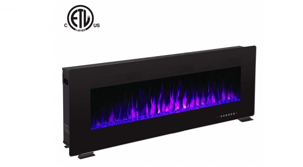 10. Recessed Electric Fireplace, Built-in Wall & Wall Mounted Electric Heater, Multicolor Flame & Crystal