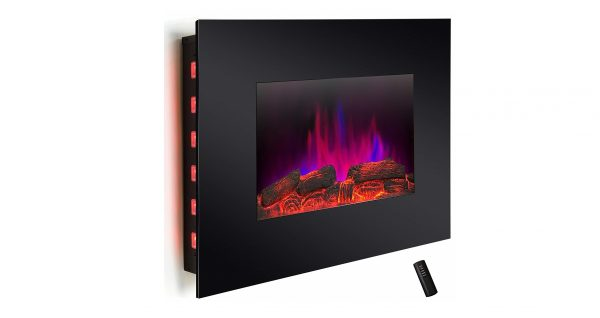 4. Wall Mount Electric Fireplace Modern Space Heater Flat Tempered Glass