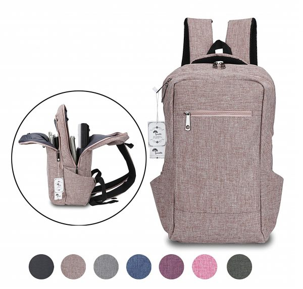 6. ​Laptop Backpack,Winblo 15 15.6 Inch College Backpacks Lightweight Travel Daypack - Mauve Pink