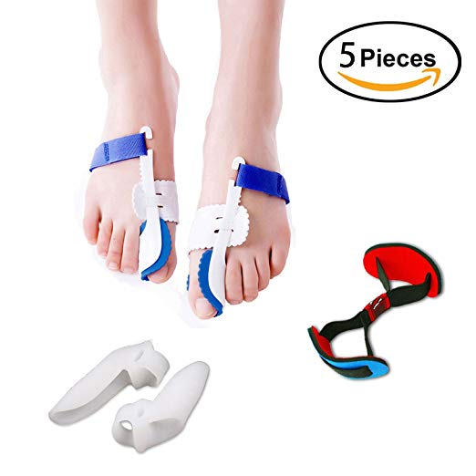 6. 5Pcs Bunion Corrector Adjustable Bunion Splint Night Time Soft Gel for Bunion Relief