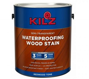 6. KILZ Exterior Waterproofing Wood Stain, Semi-Transparent, Redwood, 1 gallon