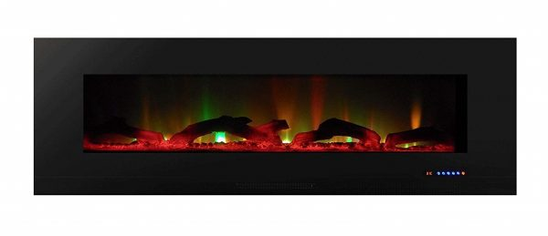 6. Touchstone ValueLine, Recessed Wall Electric Fireplace, 60 Inch Wide, Logset & Crystal, 1200W Heat (Black)