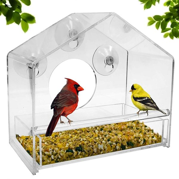 7. Nature Gear Window Bird Feeder - Refillable Sliding Tray - Weather Proof - Snow and Squirrel Resistant - Drains Rain Water - See Songbirds from