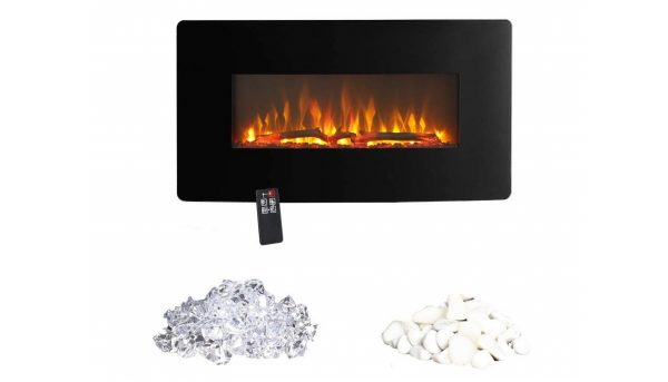 9. Innoflame E35c Wall Hanging Electric Fireplace Heater with Remote Control, 36 Inch Wide,1400W (Black)