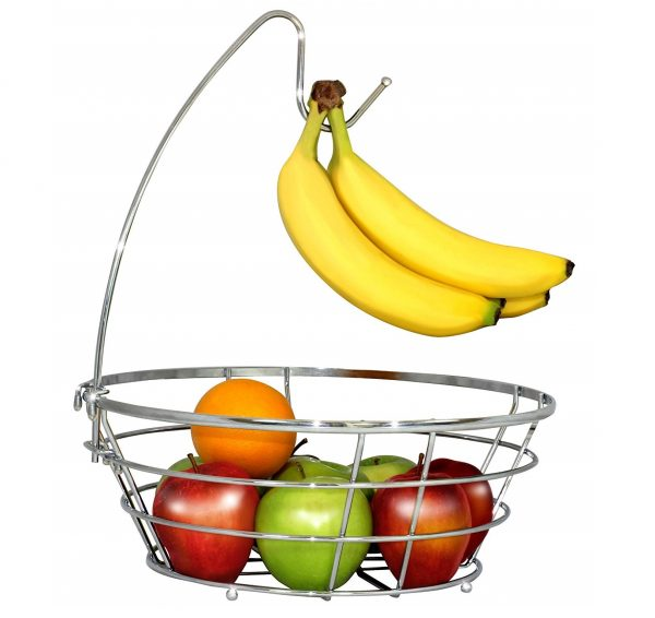 1. DecoBros Wire Fruit Tree Bowl with Banana Hanger, Chrome Finish