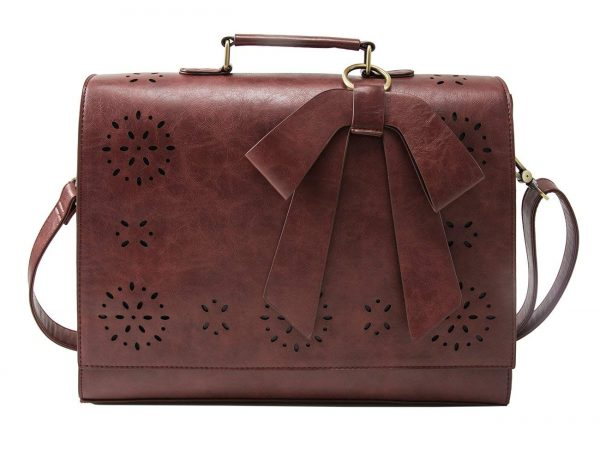 1. ECOSUSI Ladies PU Leather Laptop Bag Briefcase Crossbody Messenger Bags Satchel Purse Fit
