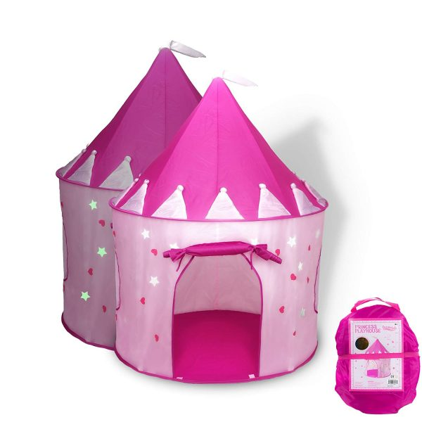 1. FoxPrint Princess Castle Play Tent Glow in The Dark Stars, conveniently Folds in to a Carrying Case