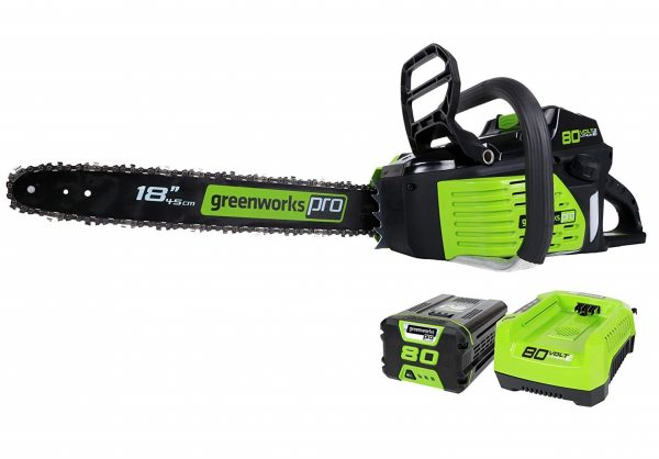 1. Greenworks PRO 18-Inch 80V Cordless Chainsaw, 2.0 AH Battery Included GCS80420
