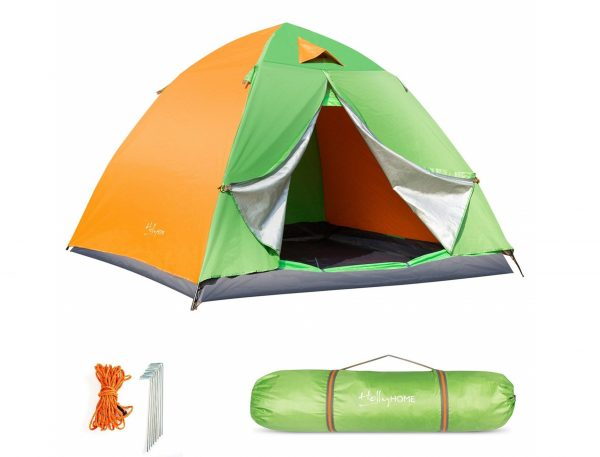10. HollyHOME Family Automatic Backpacking Tent with Carrying Bag & Accessories, 4 Seasons, Lightweight and Water Resistant