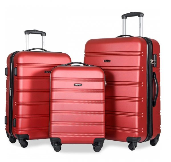 2. Merax Travelhouse Luggage 3 Piece Expandable Spinner Set (Red_1)