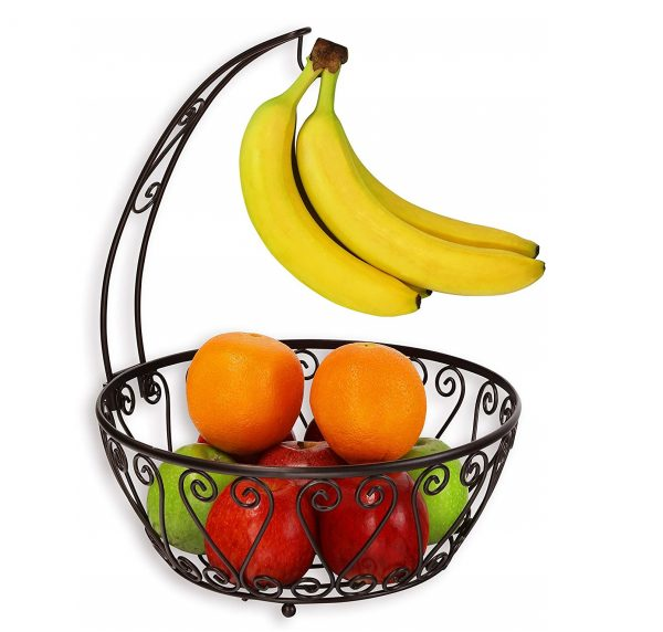 2. SimpleHouseware Fruit Basket Bowl with Banana Tree Hanger, Bronze