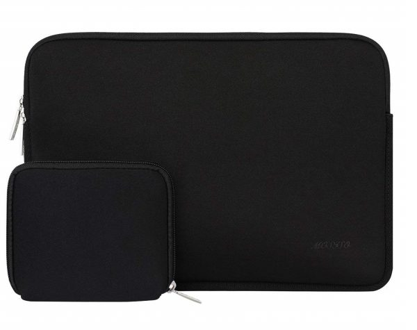 3. MOSISO Water Repellent Lycra Sleeve Bag Cover Compatible 15-15.6 Inch MacBook Pro, Notebook Computer with Small Case, Black