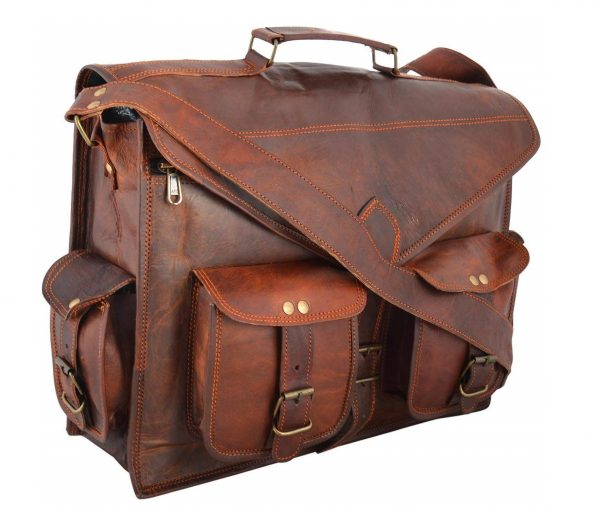4. Handmadecraft ABB 18 Inch Vintage Handmade Leather Messenger Bag for Laptop Briefcase Satchel Bag