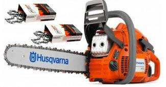 4. Husqvarna 445 Cutting Kit. Includes a 445 18-Inch 45.7cc 2-Stroke Gas Powered Chain Saw and 2 WoodlandPRO replacement Chains