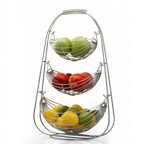 5. Sagler 3 Tier Fruit basket - Stainless steel fruit bowl - large fruit bowl - useful for fruit storage basket