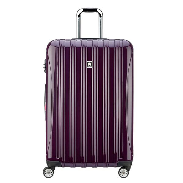 6. Delsey Luggage Helium Aero, Large Checked Luggage, Hard Case Spinner Suitcase, Plum Purple