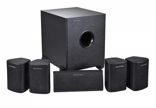 6. Monoprice 108247 5.1-Channel Home Theater Speaker System, Six