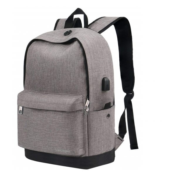 6. Vancropak Student Backpack, Canvas School Backpack with USB Charging Port, Fits to Laptop and Notebook Backpack