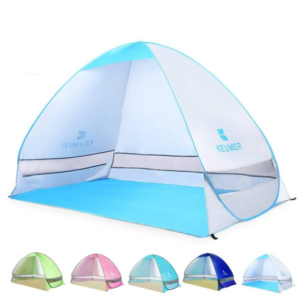 7. BATTOP Pop up Beach Tent Camping Sun Shelter Outdoor Automatic Cabana 3-4 Person Fishing Anti UV Beach Umbrella Beach Shelter, Sets up in Seconds