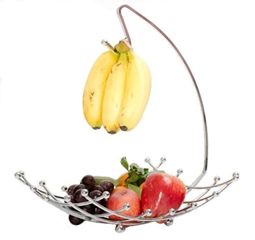 7. Fruit Basket with Banana Holder, Luxe Premium's Fruit Basket with Banana Hanger, Elegant and Decorative Chrome Fruit Bowl with Banana Hook, Amazing Design