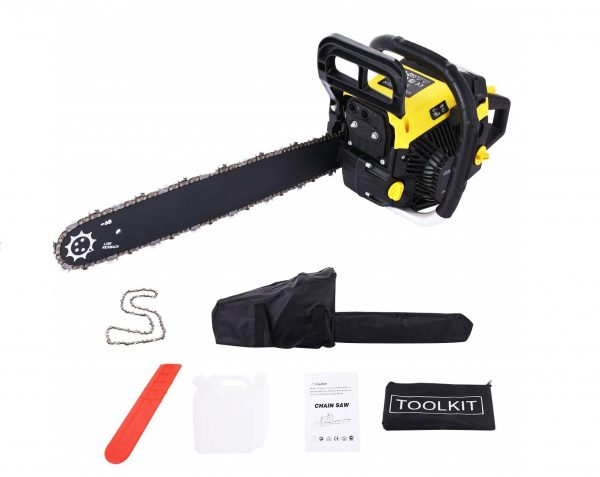 7. Homself 58cc 20-inch Gas Chainsaw, 2-Cycle Gas-Powered Chain with Black Bag
