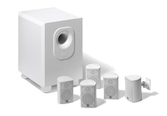 7. Leviton AEH50-WH Architectural Edition Powered By JBL 5-Channel Surround Sound Home Cinema Speaker System, White