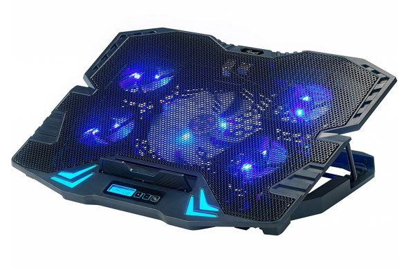 7. Rosewill Gaming Laptop Cooler Notebook Cooling Pad, 5 Silent Blue LED Fans