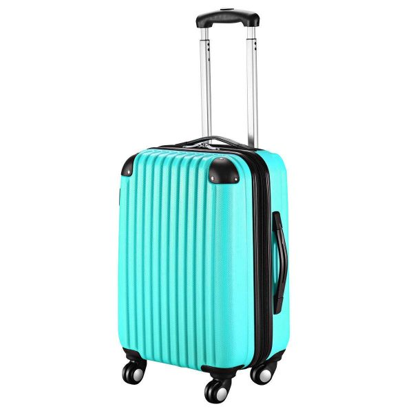 8. ABS Carry On Luggage Expandable Hardside Travel Bag Trolley Rolling Suitcase GLOBALWAY (Aqua)