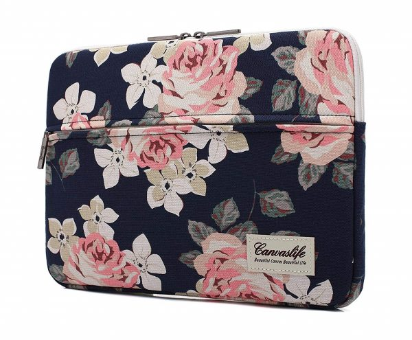 8. Canvaslife White Rose Pattern 13 inch Canvas laptop sleeve with pocket 13 inch 13.3 inch laptop case