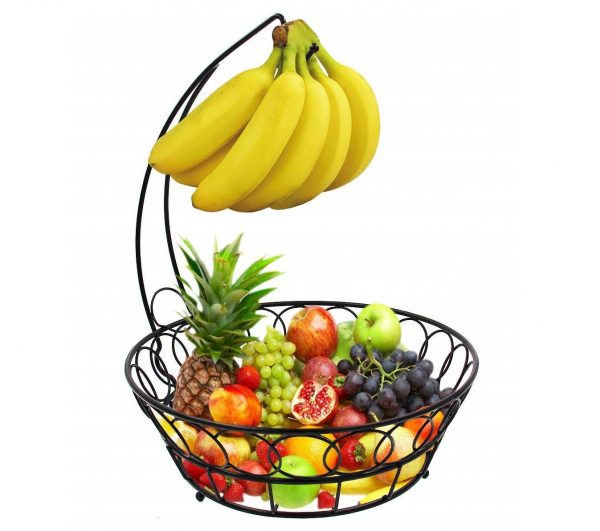 8. ESYLIFE Wire Fruit Bowl with Banana Hanger Fruit Storage Basket, Black