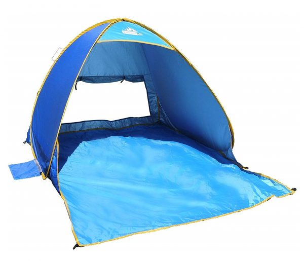 8. OutdoorsmanLab Automatic Pop Up Beach Tent, Lightweight For Family with UV 50+ Protection, Easy Carrying Bag, Wind Resistant Features