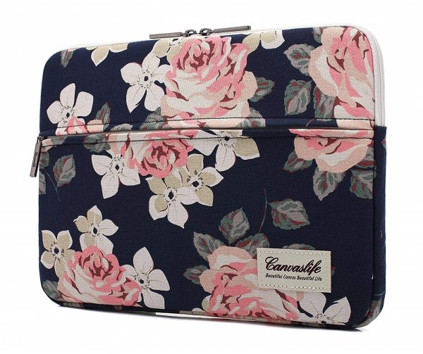 9. canvaslife White Rose Laptop Sleeve 15 Inch 15 Case and 15.6 Laptop Bag