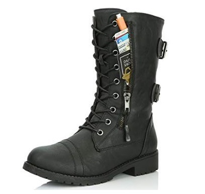 1. DailyShoes Women's Military Combat Lace up Mid Calf High Credit Card Knife Money Wallet Pocket Boots