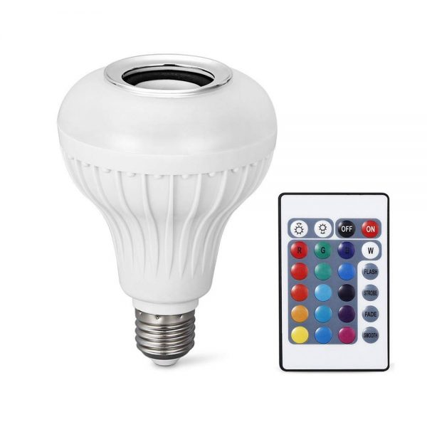 1. LightMe Intelligent E27 LED White + RGB Light Ball Bulb Colorful Lamp Smart Music Audio Bluetooth 3.0 Speaker with Remote Control for Home